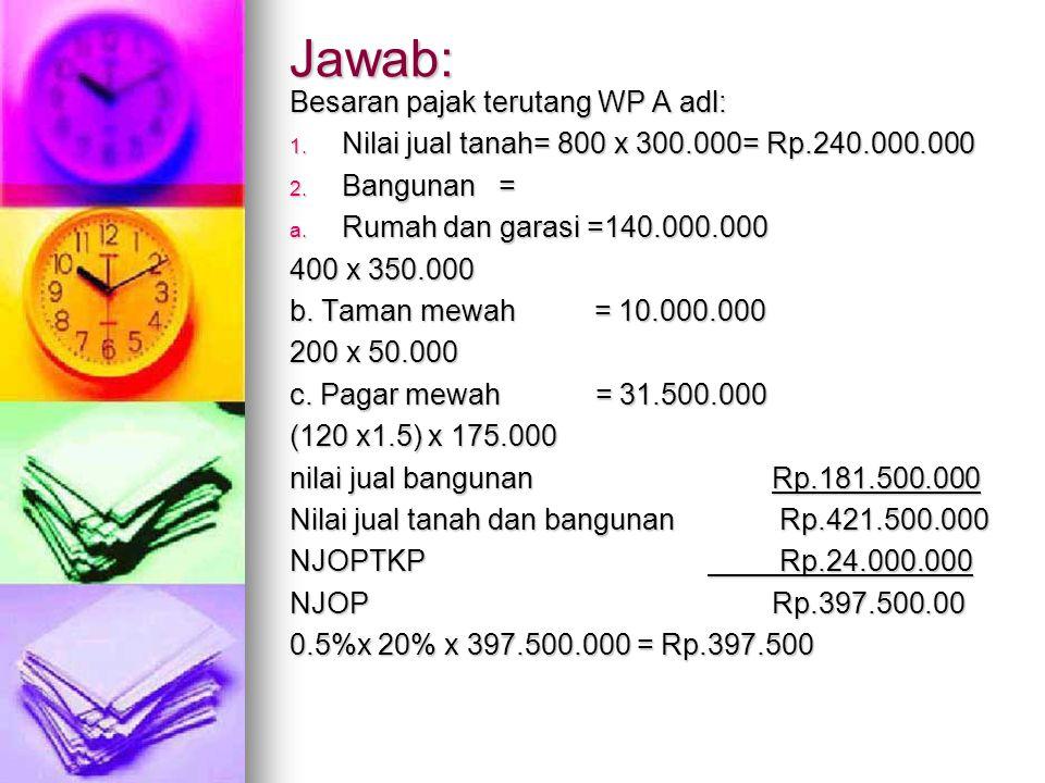 Jawab: Besaran pajak terutang WP A adl: