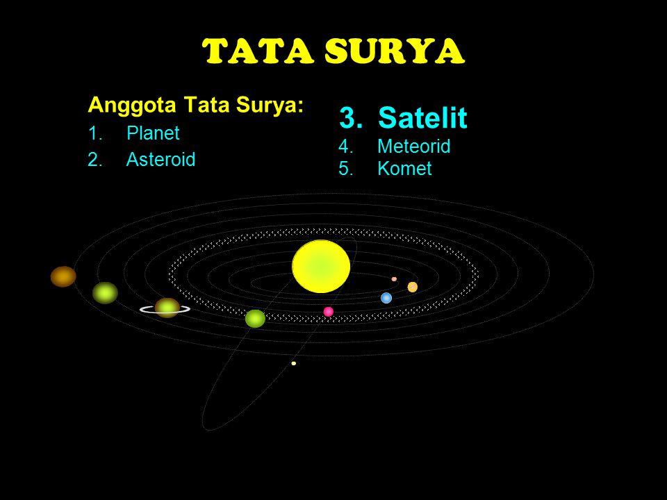 TATA SURYA 3. Satelit Anggota Tata Surya: Planet Asteroid 4. Meteorid