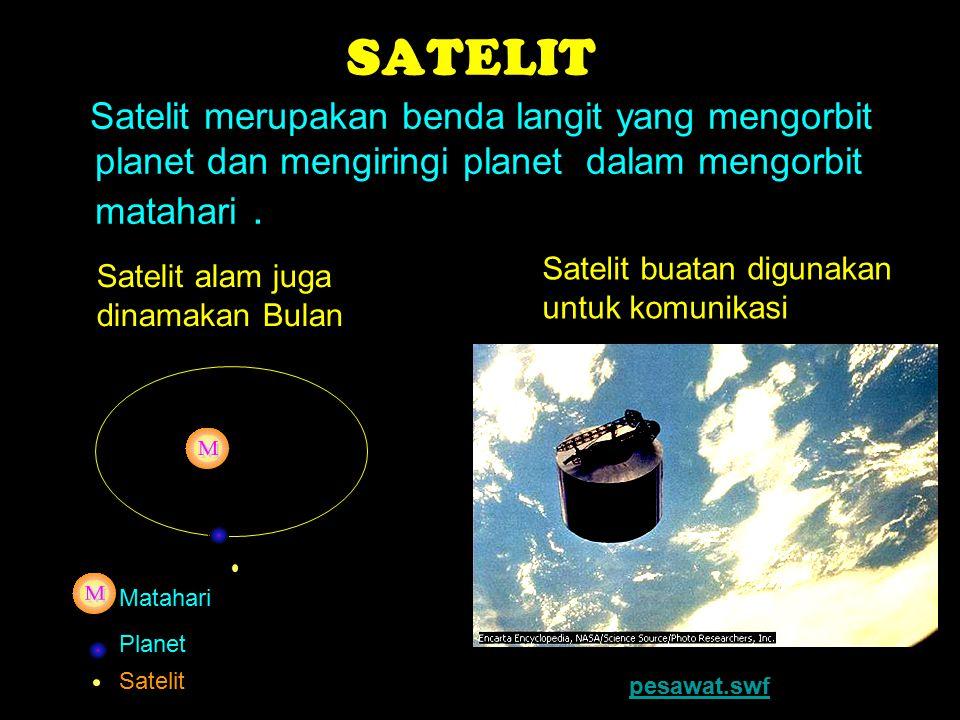 SATELIT Satelit merupakan benda langit yang mengorbit planet dan mengiringi planet dalam mengorbit matahari .