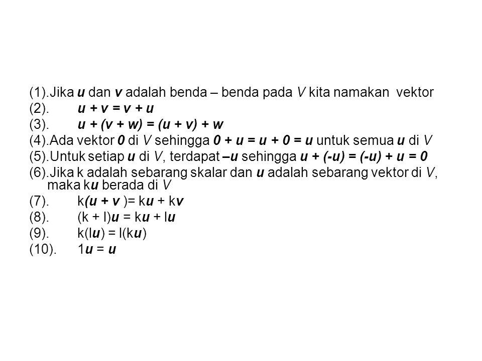 (1).Jika u dan v adalah benda – benda pada V kita namakan vektor