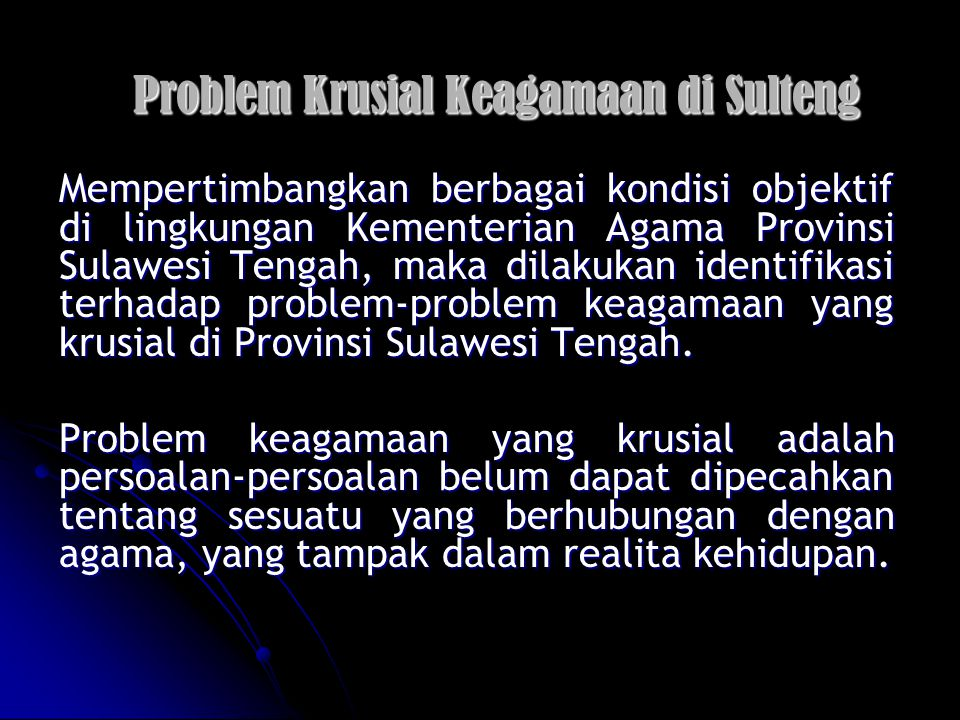 Problem Krusial Keagamaan di Sulteng