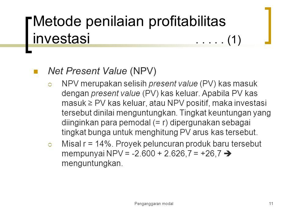 Metode penilaian profitabilitas investasi . . . . . (1)