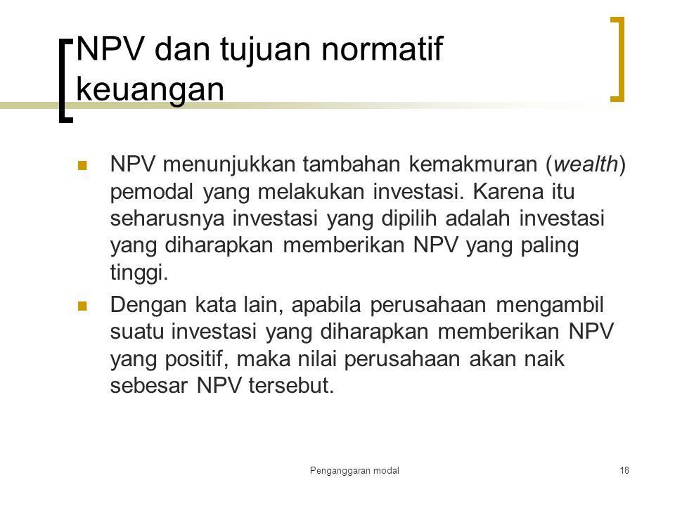 NPV dan tujuan normatif keuangan
