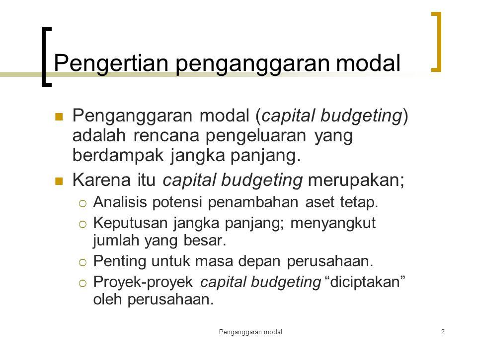 Pengertian penganggaran modal