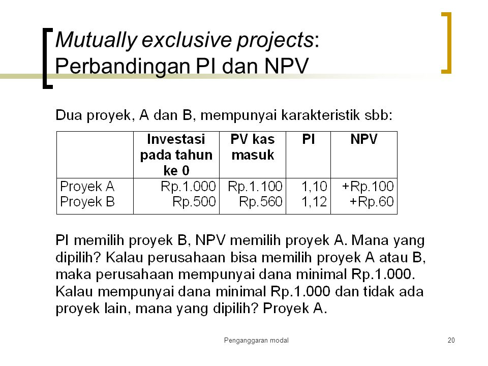 Mutually exclusive projects: Perbandingan PI dan NPV