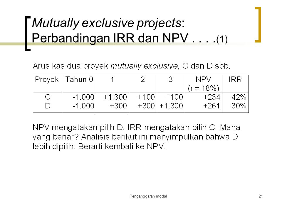 Mutually exclusive projects: Perbandingan IRR dan NPV . . . .(1)