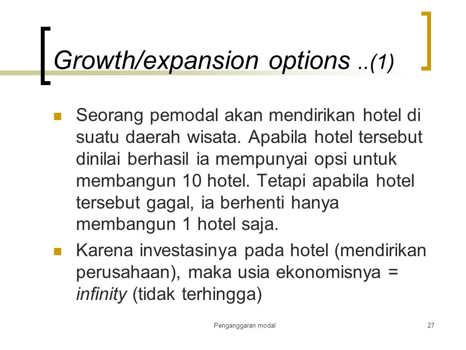 Growth/expansion options ..(1)