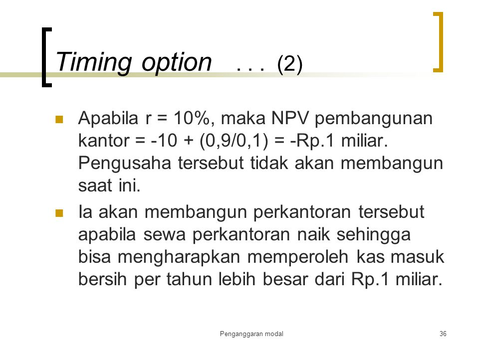 Timing option . . . (2)