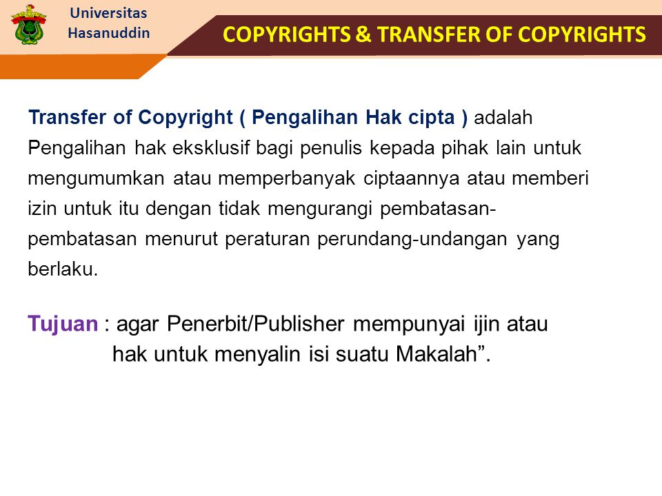 COPYRIGHTS & TRANSFER OF COPYRIGHTS