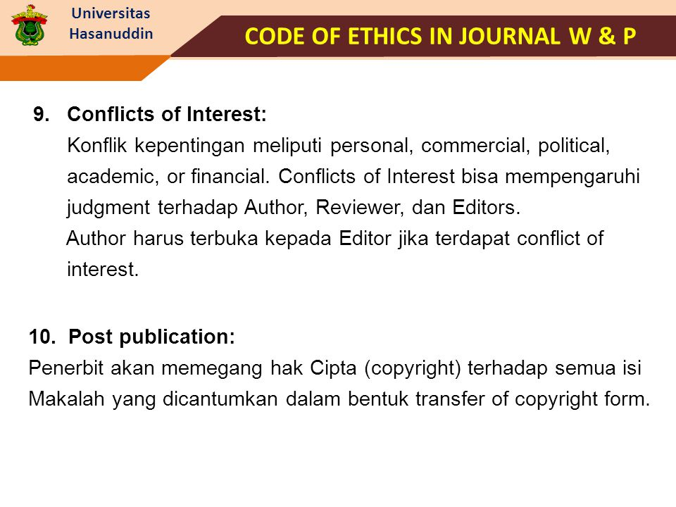 CODE OF ETHICS IN JOURNAL W & P