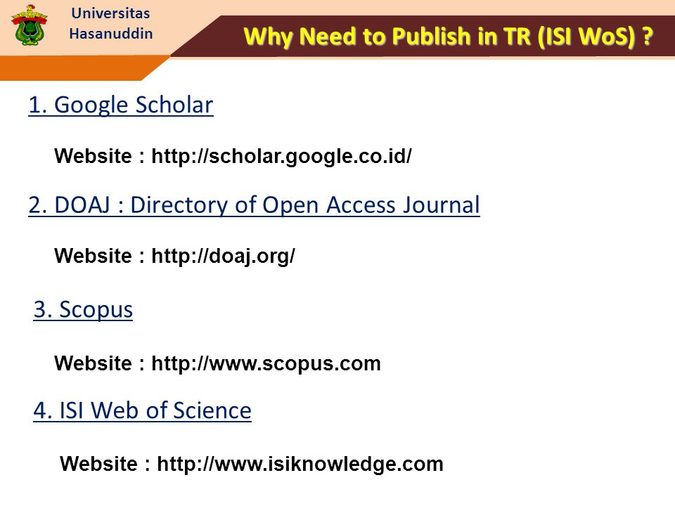 Why Need to Publish in TR (ISI WoS)