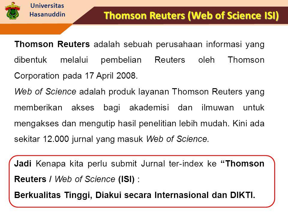 Thomson Reuters (Web of Science ISI)