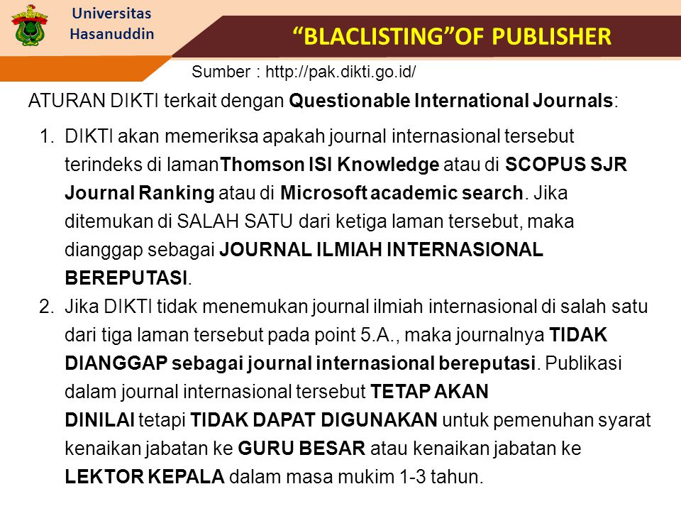 Blaclisting of Publisher