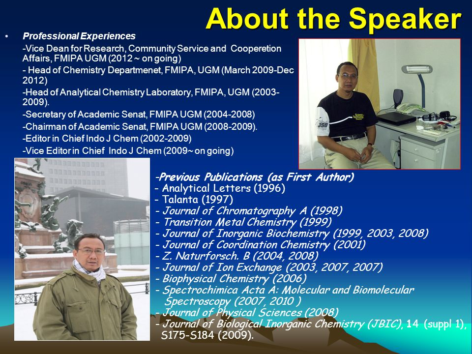 About the Speaker -Previous Publications (as First Author)