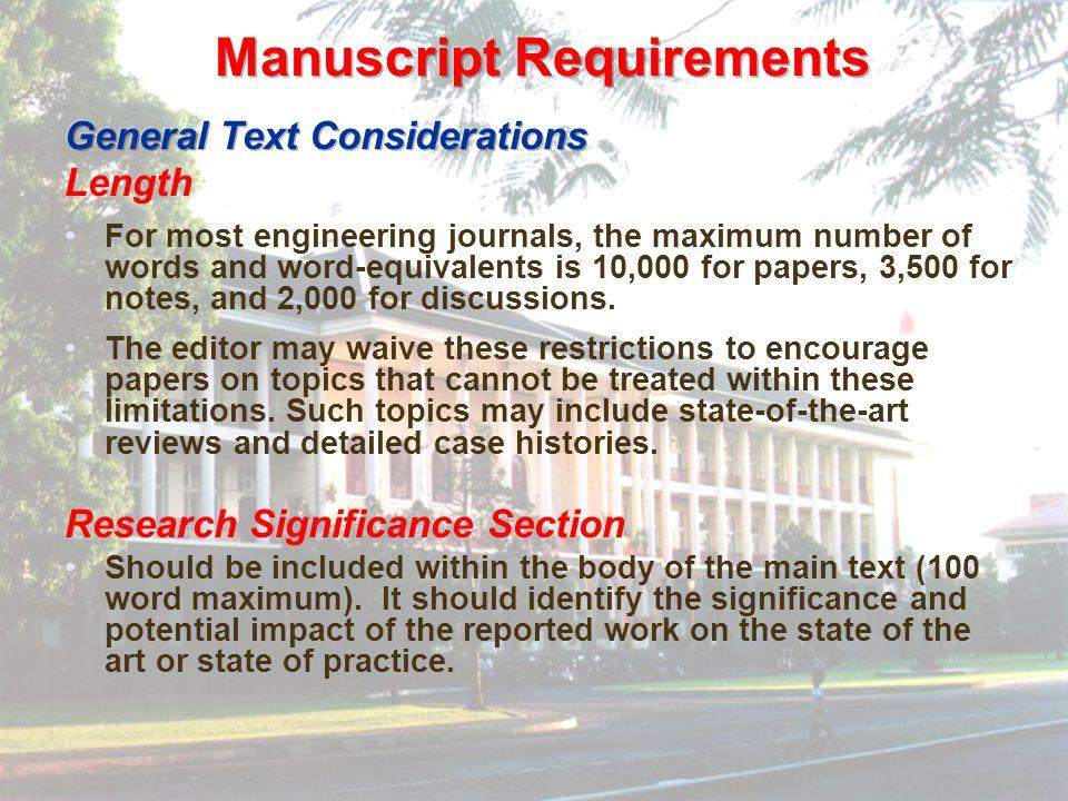 Manuscript Requirements