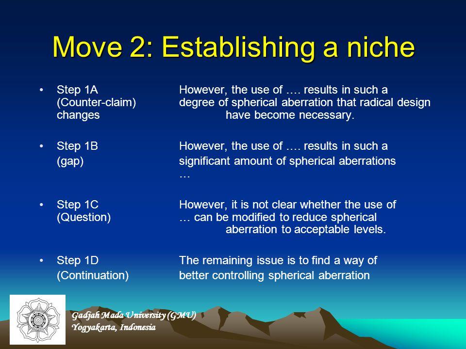 Move 2: Establishing a niche