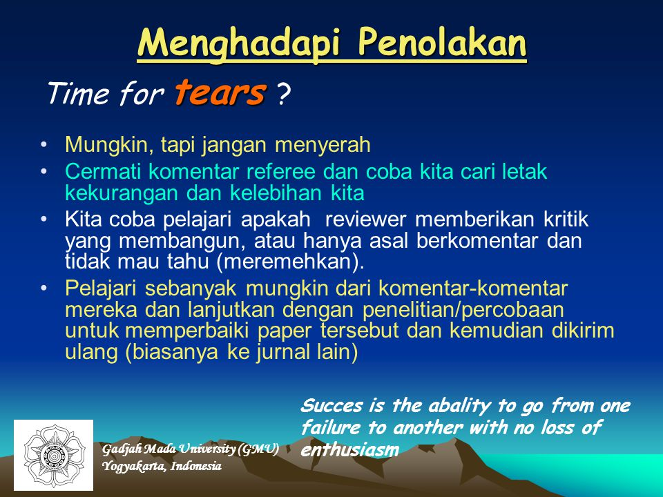 Menghadapi Penolakan Time for tears Mungkin, tapi jangan menyerah