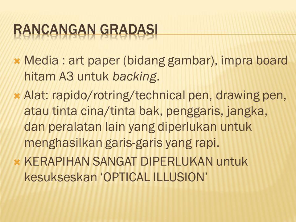 Rancangan gradasi Media : art paper (bidang gambar), impra board hitam A3 untuk backing.
