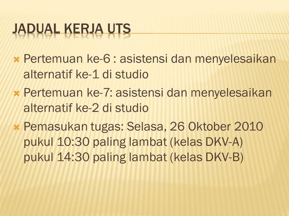 Jadual kerja uts Pertemuan ke-6 : asistensi dan menyelesaikan alternatif ke-1 di studio.