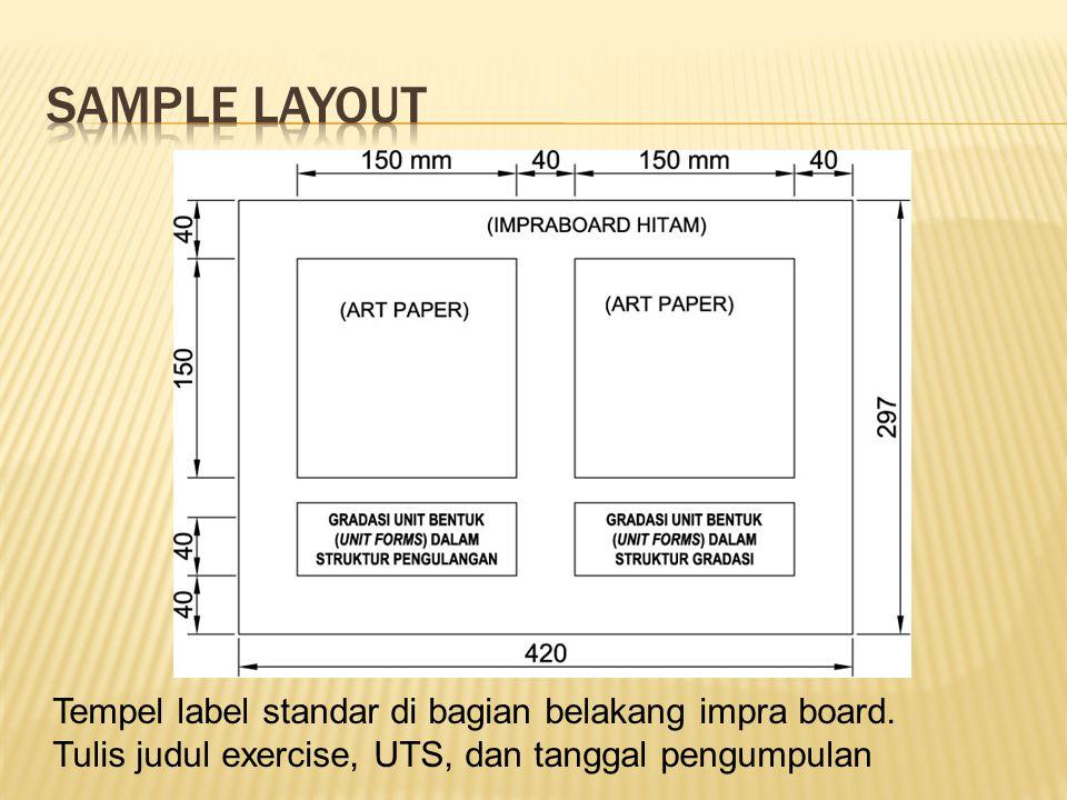 SAMPLE LAYOUT Tempel label standar di bagian belakang impra board.