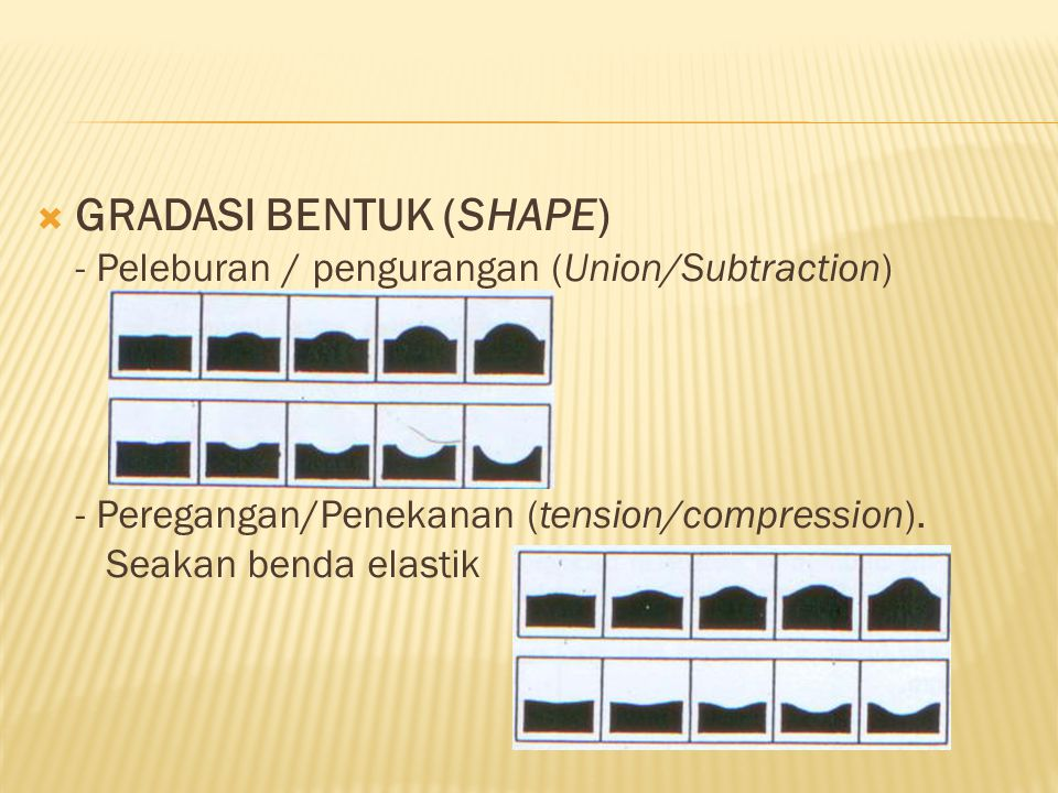 GRADASI BENTUK (SHAPE) - Peleburan / pengurangan (Union/Subtraction) - Peregangan/Penekanan (tension/compression).