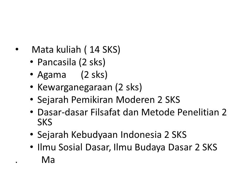 Mata kuliah ( 14 SKS) Pancasila (2 sks) Agama (2 sks) Kewarganegaraan (2 sks) Sejarah Pemikiran Moderen 2 SKS.