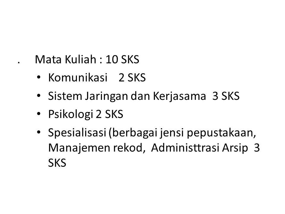 . Mata Kuliah : 10 SKS Komunikasi 2 SKS. Sistem Jaringan dan Kerjasama 3 SKS. Psikologi 2 SKS.