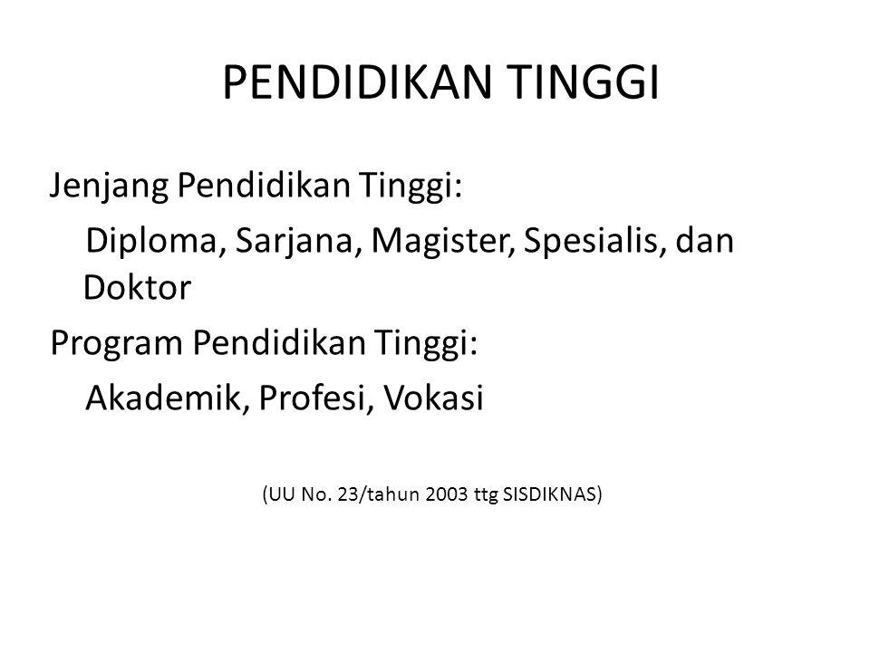 (UU No. 23/tahun 2003 ttg SISDIKNAS)