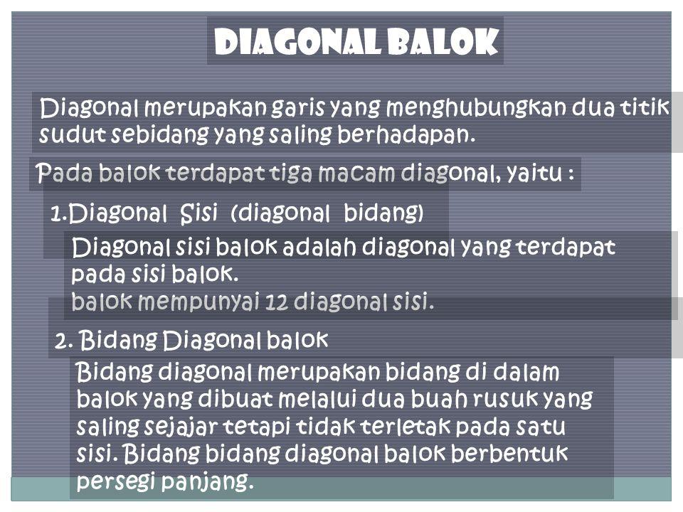 DIAGONAL BALOK Diagonal merupakan garis yang menghubungkan dua titik sudut sebidang yang saling berhadapan.