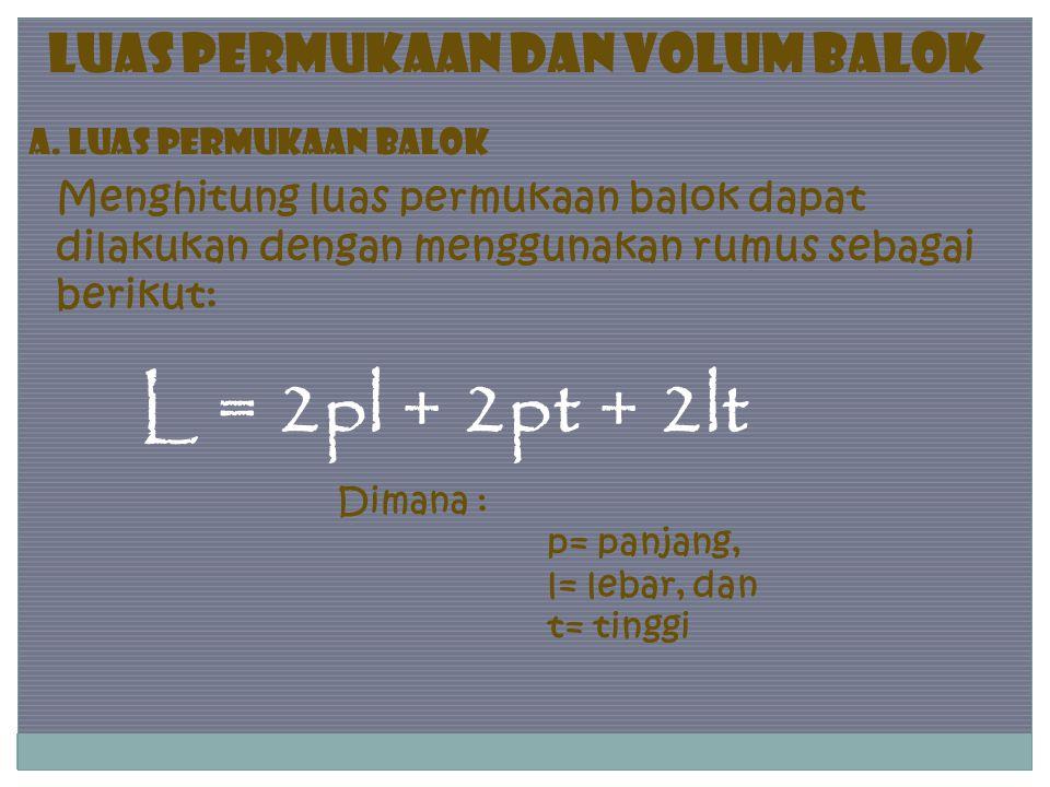 L = 2pl + 2pt + 2lt Luas Permukaan dan Volum Balok