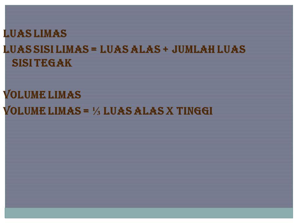 LUAS LIMAS Luas sisi limas = luas alas + jumlah luas sisi tegak VOLUME LIMAS Volume limas = ⅓ luas alas x tinggi
