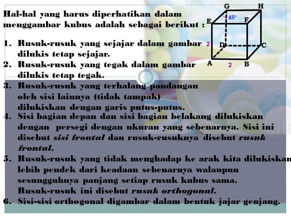 Hal-hal yang harus diperhatikan dalam menggambar kubus adalah sebagai berikut :