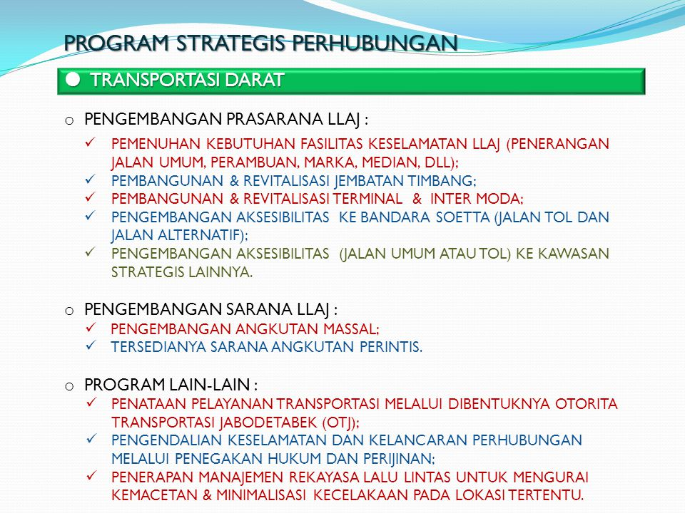 PROGRAM STRATEGIS PERHUBUNGAN