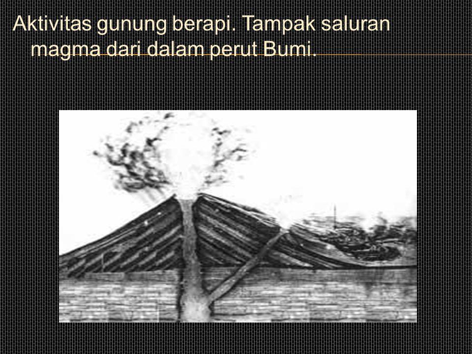Aktivitas gunung berapi. Tampak saluran magma dari dalam perut Bumi.