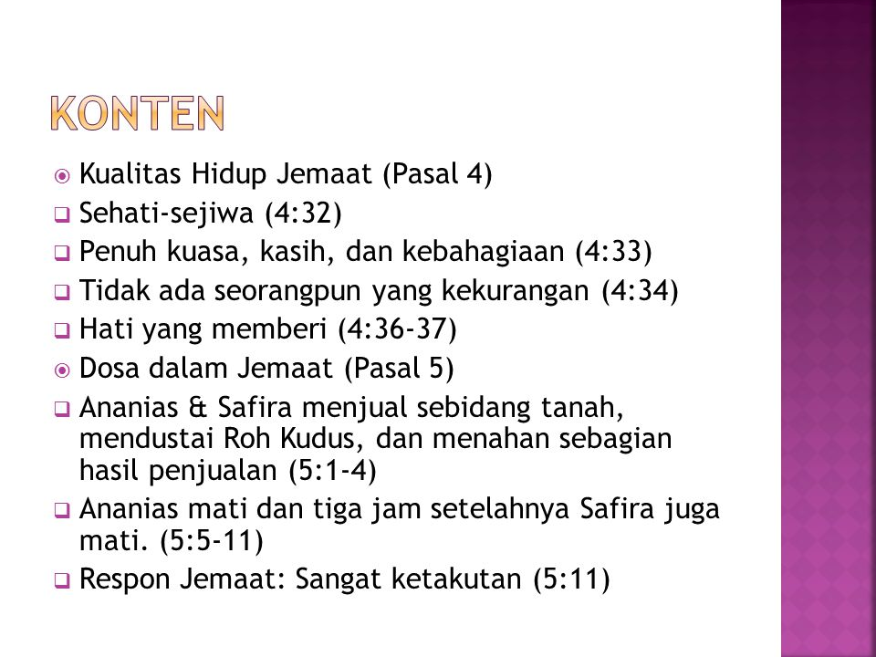 Konten Kualitas Hidup Jemaat (Pasal 4) Sehati-sejiwa (4:32)