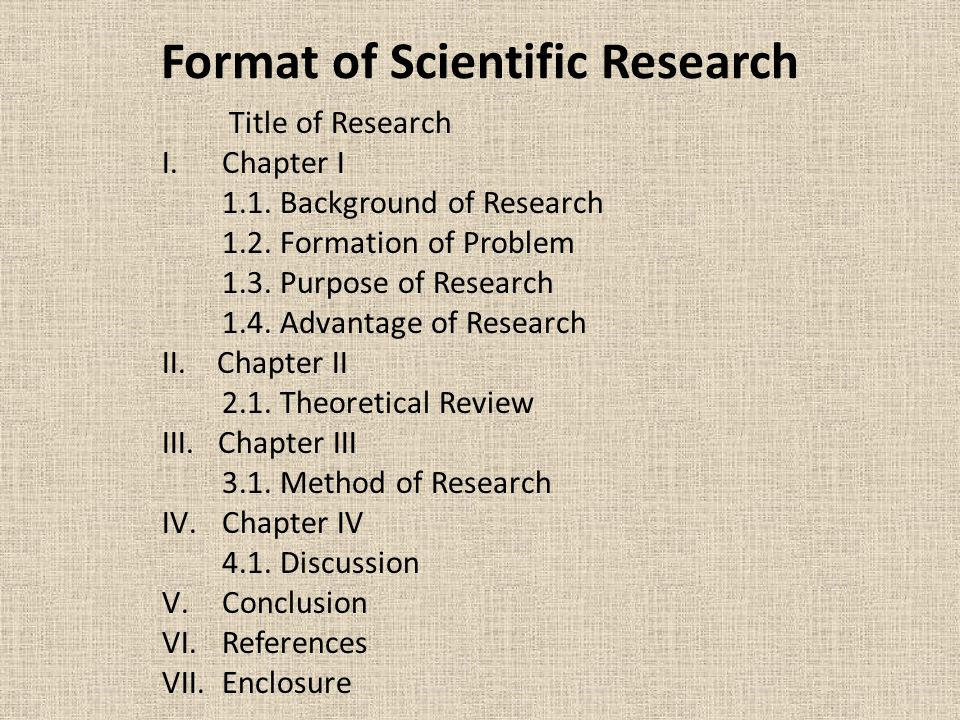 Format of Scientific Research