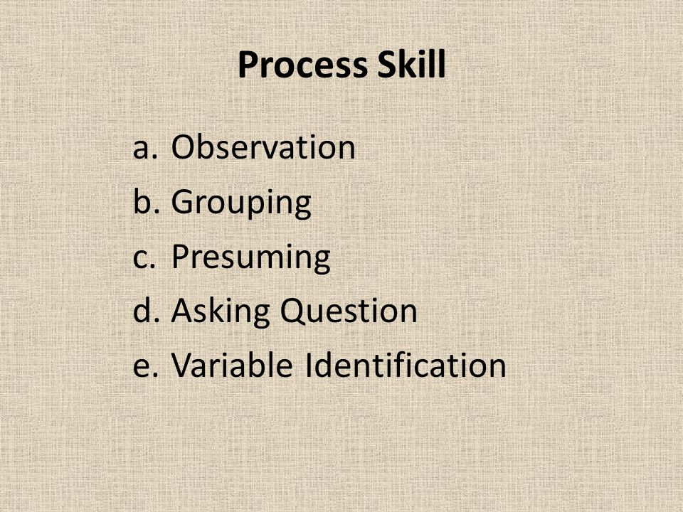 Process Skill Observation Grouping Presuming Asking Question