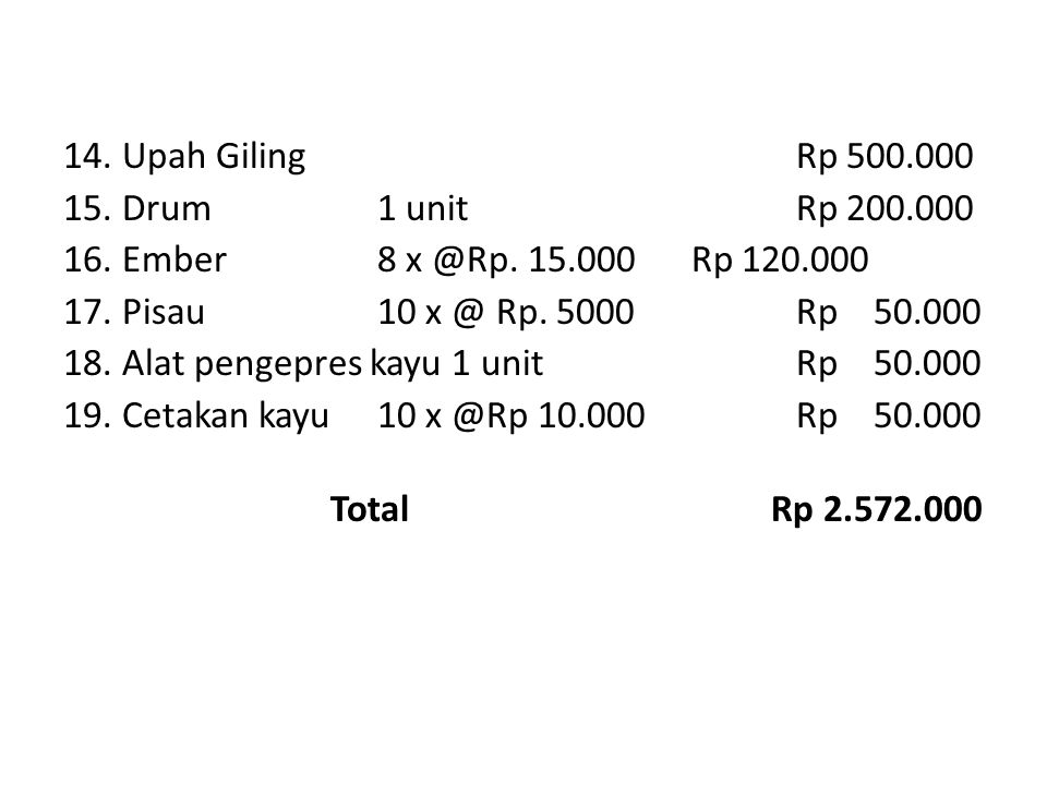 14. Upah Giling Rp 500. 000 15. Drum 1 unit Rp 200. 000 16