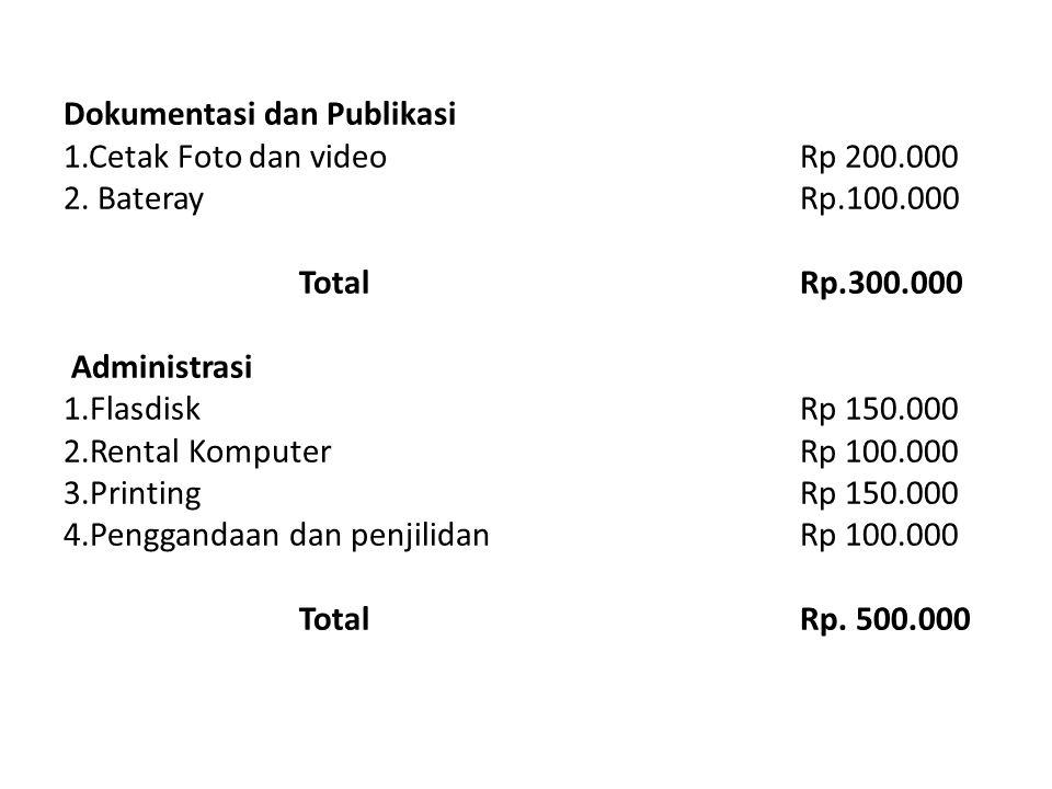 Dokumentasi dan Publikasi 1. Cetak Foto dan video Rp 200. 000 2