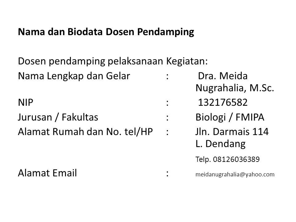 Nama dan Biodata Dosen Pendamping Dosen pendamping pelaksanaan Kegiatan: Nama Lengkap dan Gelar : Dra.