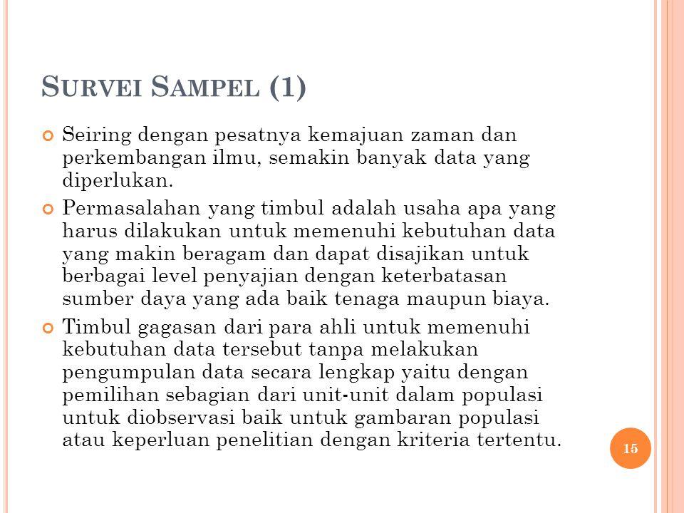 Survei Sampel (1) Seiring dengan pesatnya kemajuan zaman dan perkembangan ilmu, semakin banyak data yang diperlukan.