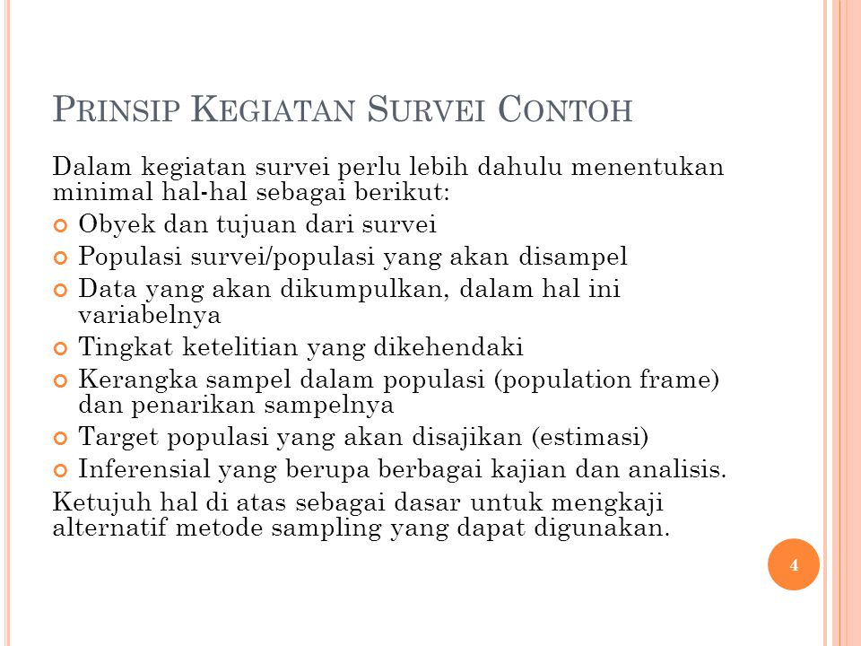 Prinsip Kegiatan Survei Contoh