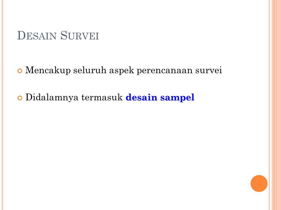 Desain Survei Mencakup seluruh aspek perencanaan survei