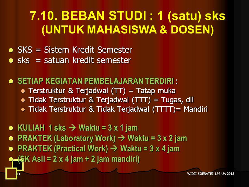7.10. BEBAN STUDI : 1 (satu) sks (UNTUK MAHASISWA & DOSEN)