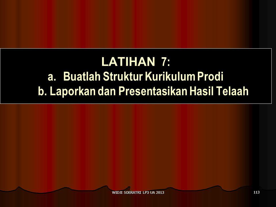 LATIHAN 7: Buatlah Struktur Kurikulum Prodi b. Laporkan dan Presentasikan Hasil Telaah.