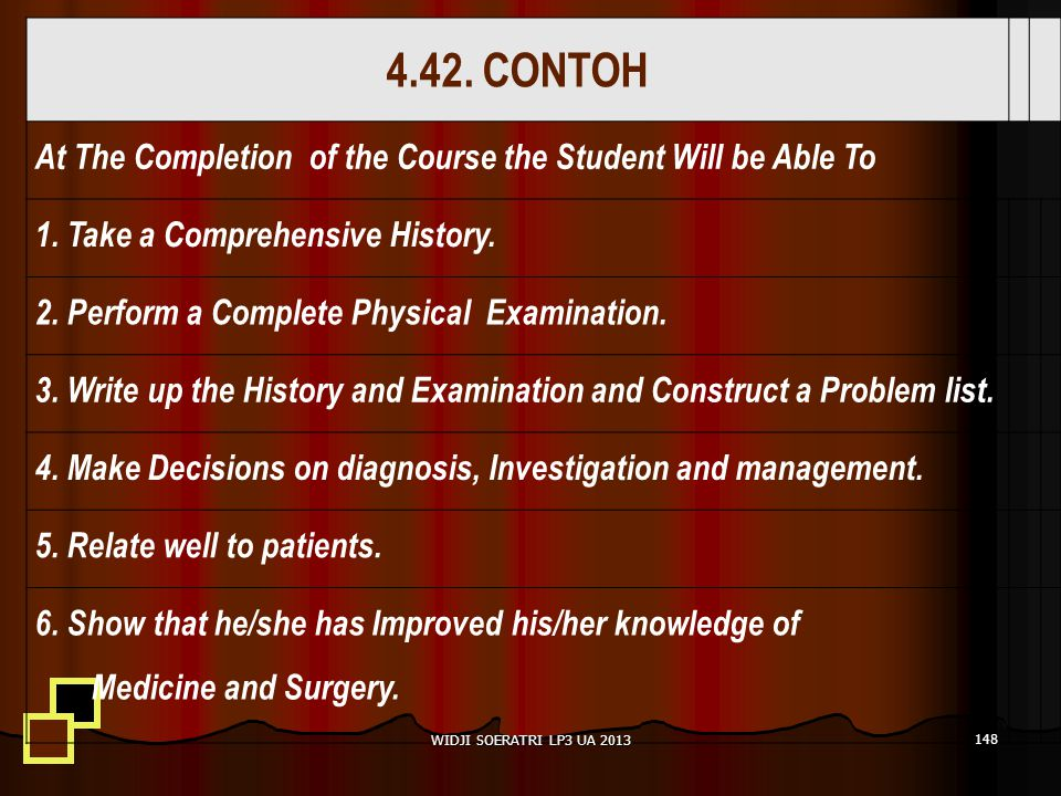 4.42. CONTOH At The Completion of the Course the Student Will be Able To. 1. Take a Comprehensive History.