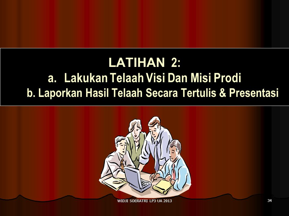 LATIHAN 2: Lakukan Telaah Visi Dan Misi Prodi b. Laporkan Hasil Telaah Secara Tertulis & Presentasi.