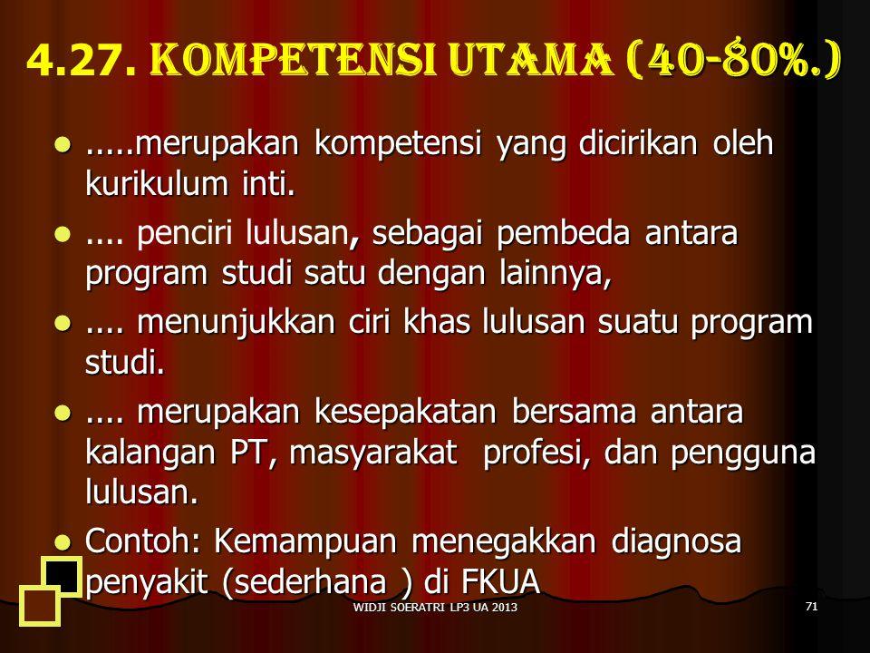 4.27. Kompetensi utama (40-80%.) .....merupakan kompetensi yang dicirikan oleh kurikulum inti.