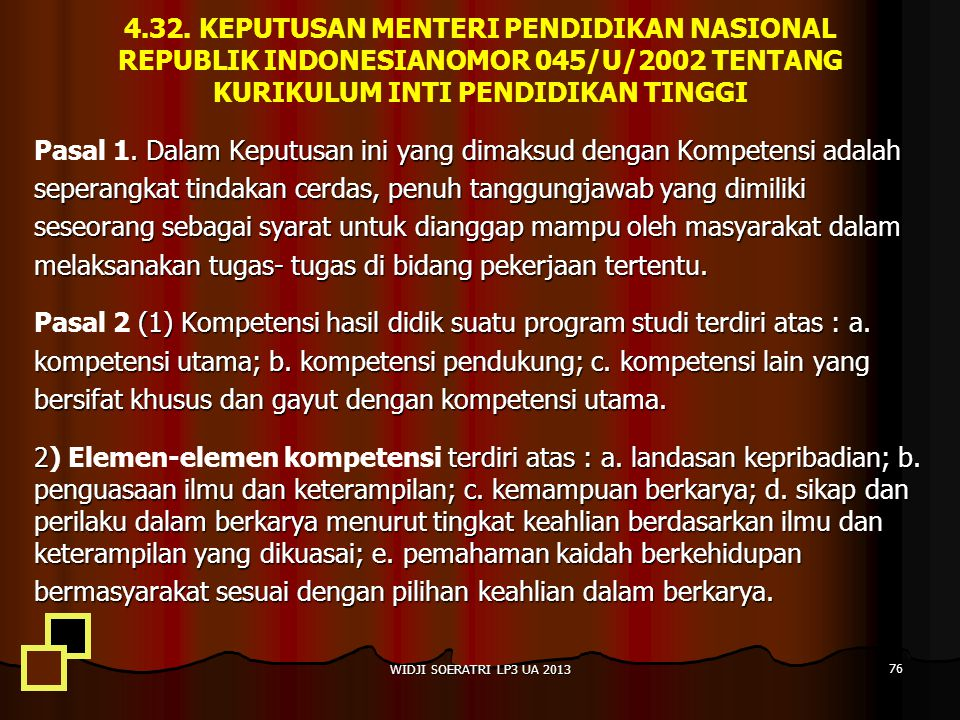 4.32. KEPUTUSAN MENTERI PENDIDIKAN NASIONAL REPUBLIK INDONESIANOMOR 045/U/2002 TENTANG KURIKULUM INTI PENDIDIKAN TINGGI