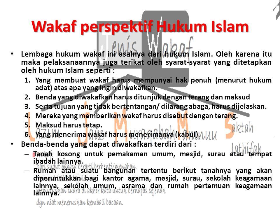 Wakaf perspektif Hukum Islam